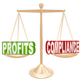 Profits and Compliance in Balance Scale Weighing Words poster
