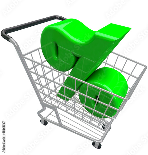 Percentage Sign Shopping Cart Percent Inflation Interest Rate