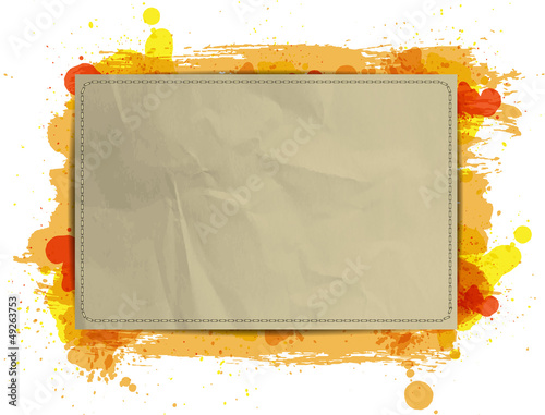 Vector paper banner with grungy paint watercolor Orange