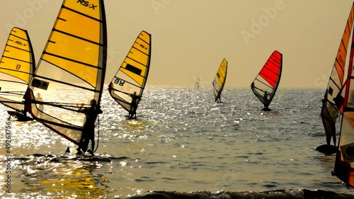 Sailboard Windsurfing Race Finish Line
