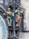 Death (skeleton) and Turk on Prague Astronomical Clock poster