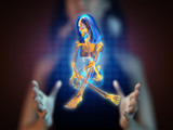 cute woman radiography on hologram poster