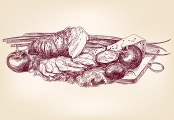 food - vintage hand drawn vector illustration
