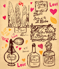 Vector hand drawn illustration with symbols of France