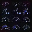 Speedometer interface icons.
