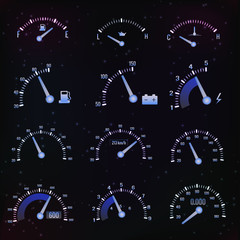 Speedometer interface icons.