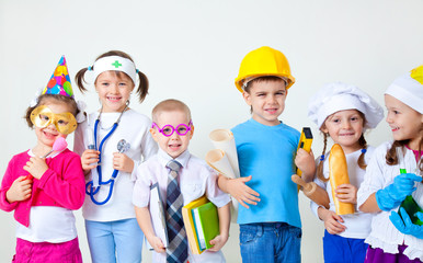 Kids playing in professions