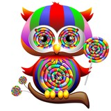 Owl Psychedelic Rainbow Lollipop-Gufo Lecca Lecca Arcobaleno