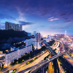 Hong Kong Cargo Terminal and highways at sunset