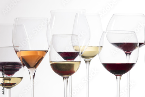 still life of wine glasses with wine