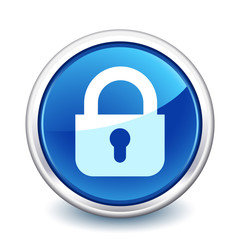 button blue close padlock