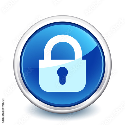 button blue close padlock