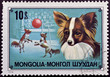 Mongolian postage stamp with portrait circus dog