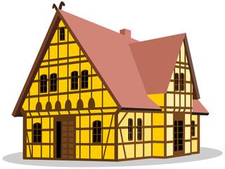 Illustration eines Fachwerkhauses – Vektor und freigestellt