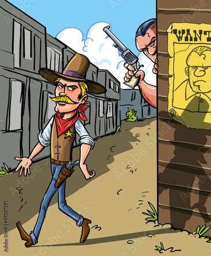 Cartoon Wanted notice for cowboy