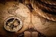 Leinwandbild Motiv old compass and rope on vintage map 1752