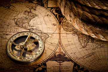 old compass and rope on vintage map 1752 © Tryfonov