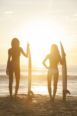 Woman Bikini Surfer Girls & Surfboards Sunset Beach