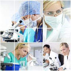 Montage Research Scientists Women Laboratory