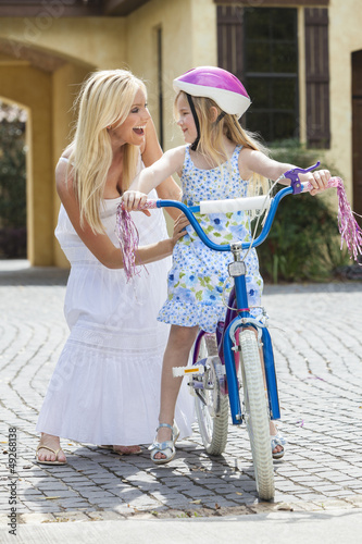 Mother Parent & Girl Child Riding Bike