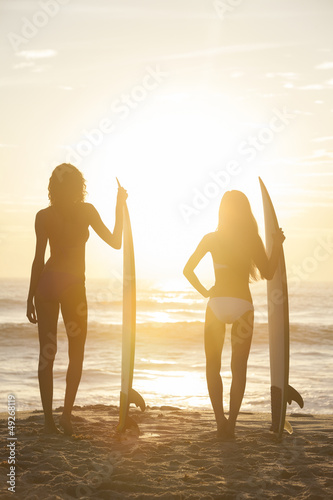 Woman Bikini Surfer Girls & Surfboards Sunset Beach