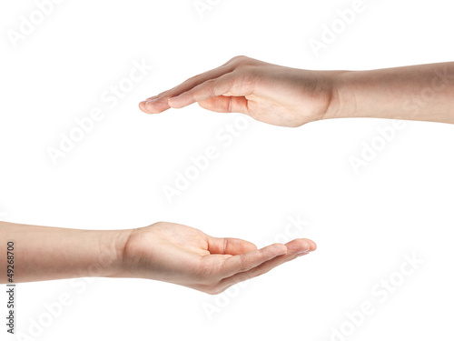 female teen hands shows protection concept