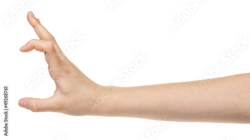 female teen hand measuring something