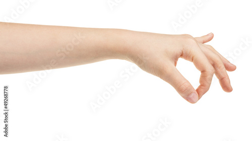 female teen hand holding something