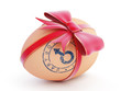 easter egg boy gift with bow on a white background
