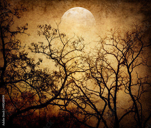 grunge image of moon landscape
