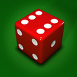 Red dice on green beize background