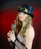 Steampunk woman with gun