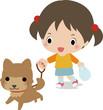 柴犬を散歩させる小さい女の子