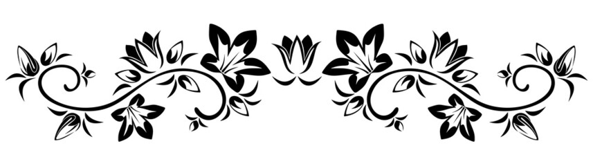 Flowers vignette. Vector illustration.