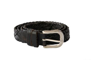 Gentlemen Black leather belt isolated on white background