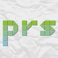 Letters prs from squares and triangles on a paper-background. Ve