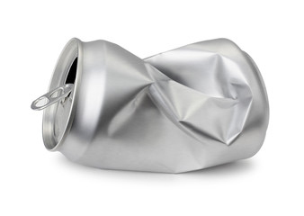 Crumpled empty blank can, Crushed soda or beer can isolated