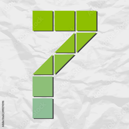 Number 7 from squares and triangles on a paper-background. Vecto