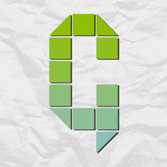 Letter G from squares and triangles on a paper-background. Vecto
