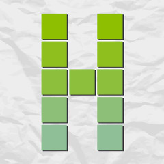 Letter H from squares and triangles on a paper-background. Vecto
