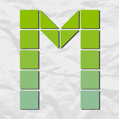 Letter M from squares and triangles on a paper-background. Vecto