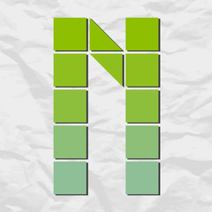 Letter N from squares and triangles on a paper-background. Vecto