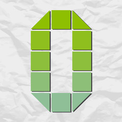 Letter O from squares and triangles on a paper-background. Vecto