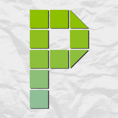 Letter P from squares and triangles on a paper-background. Vecto