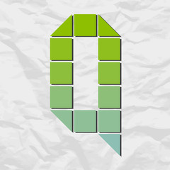 Letter Q from squares and triangles on a paper-background. Vecto
