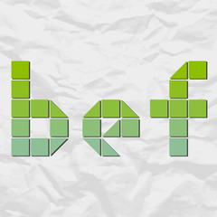 Letters bef from squares and triangles on a paper-background. Ve