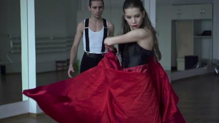 Professional dancers dancing in ballroom, super slow motion