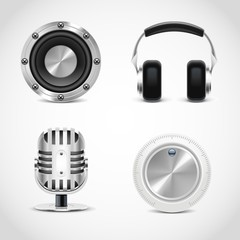 audio tools vector icons
