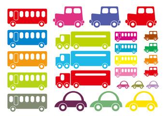 可愛い乗り物 バス、自動車