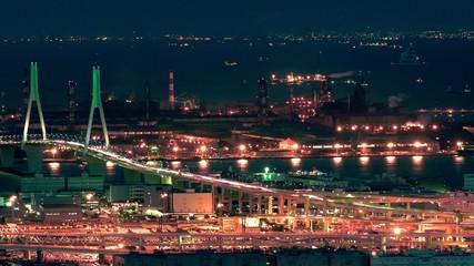 工場夜景と鶴見つばさ橋